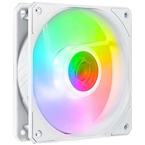 Cooler Master SickleFlow 120 V2 ARGB White Edition - Controller incluso, lame traslucide del bilanciamento dell'aria, 62 CFM, 2,5 mmH2O, 8 a 27 dBA - ARGB, 3N1 ARGB LED