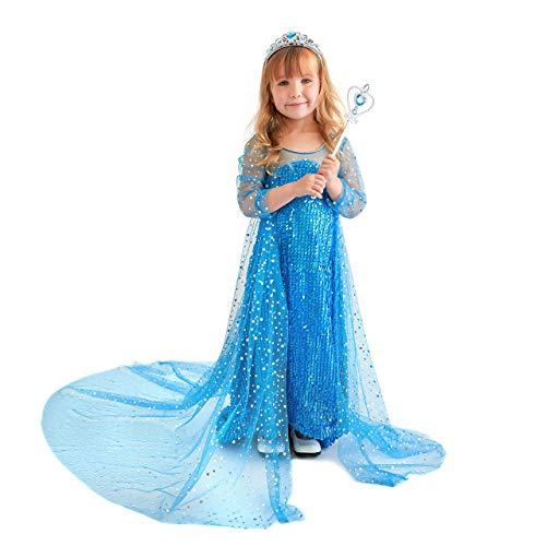 Butterfly Craze Snow Queen Princess Dress, Toddler Girl's Costume with Glamour & Coziness (Costume Accessory Set, Large 5-6 Yrs)