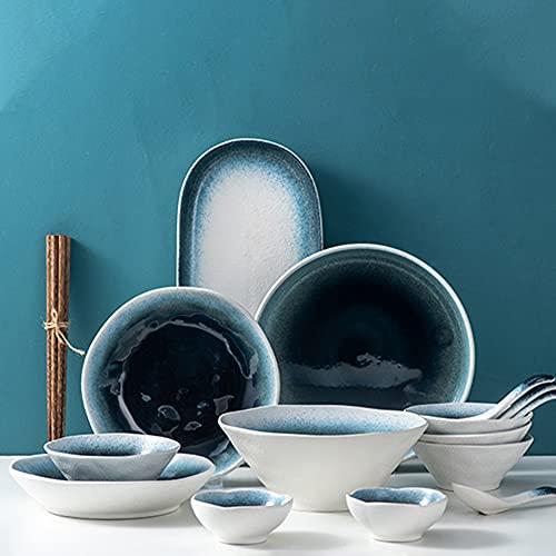 Juegos de vajilla de porcelana, vajilla de grano de piedra irregular con platos, cuencos, vajilla de cerámica para la cocina del hogar, soporte para microondas, lavavajillas, servicio para 2/4,19pcs