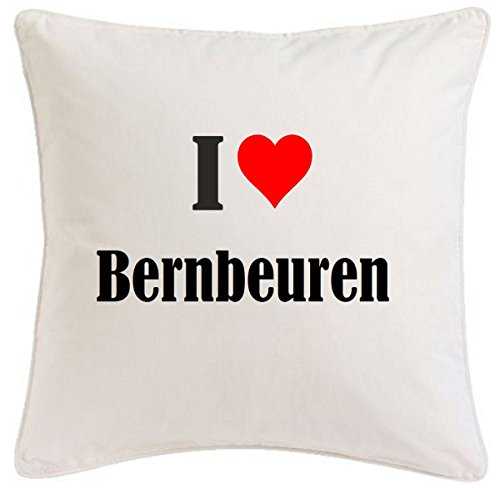 Kissenbezug I Love Bernbeuren 40cmx40cm aus Mikrofaser geschmackvolle Dekoration für jedes Wohnzimmer oder Schlafzimmer in Weiß mit Reißverschluss