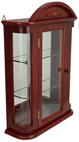 Design Toscano Rosedale Glass Wall Mounted Storage Curio Cabinet, 22 Inch, Hardwood, Mahogany