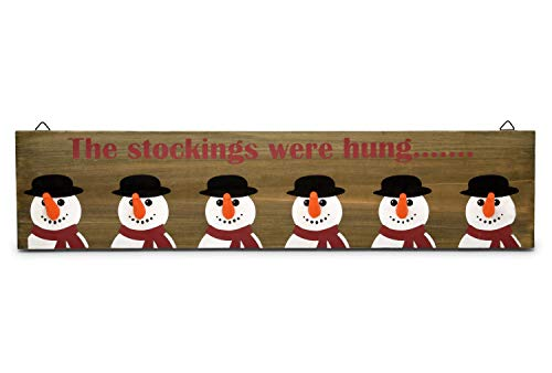 Christmas Stocking Holder Rustic Wooden Sign, Snowmen Wall Mount Hanging