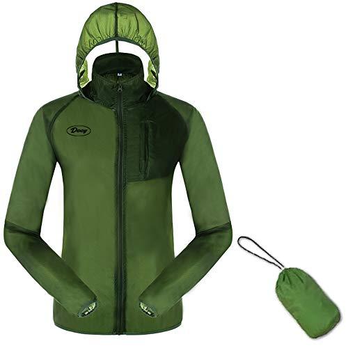 Dooy - Chaqueta para ciclismo y correr, resistente al viento, protección contra el sol, con capucha, protección contra los rayos UV, capa exterior, ultraligera y plegable en bolsa, Hombre, verde, M