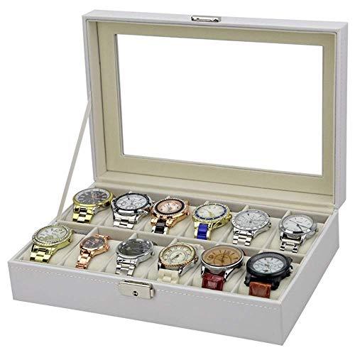 LQH Relojes Box Watches Box Watch Box 12 Slots PU Funda de Cuero Organizador con cajón de joyería para Mostrar Display (Color: Blanco, Tamaño: 30 * 20 * 8cm) (Color: Blanco, Tamaño: 30 * 20 * 8cm)