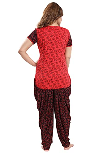 TUCUTE® Top and Dhoti Style Bottom Night Suit/Nighty/Nightdress/Night Gown for Women and Girls Size: L/XL/XXL (Large, Carry Red- 4574)