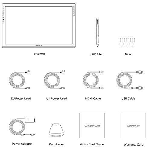 GAOMON PD2200 21.5' Laminación Completa Pantalla Gráfica Tableta 8 Teclas Táctiles y Soporte ± 60° de Inclinación