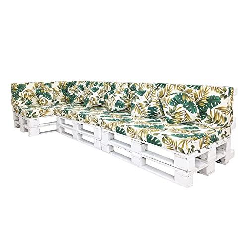 Conjuntos de Cojines para Sillones de Palets / Estampados con Motivos de Hojas Tropicales / Decora tu Jardín, Terraza o Balcón (Palmeras Doradas, 13)