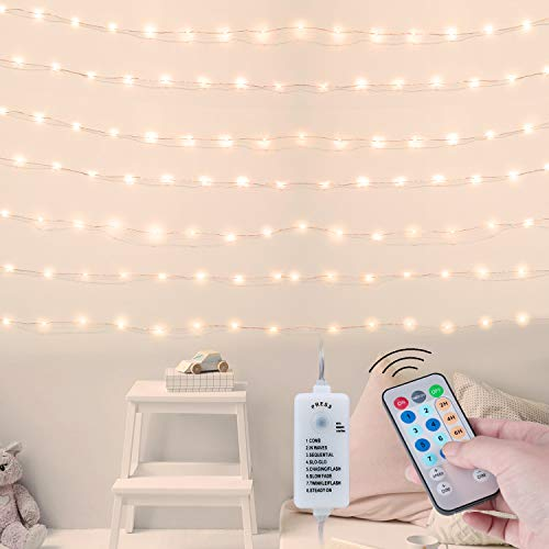 66Feet 200Led Fairy String Lights with Remote, Copper Wire Twinkle Lights for Bedroom Halloween Christmas Party Wedding Decor, Warm White