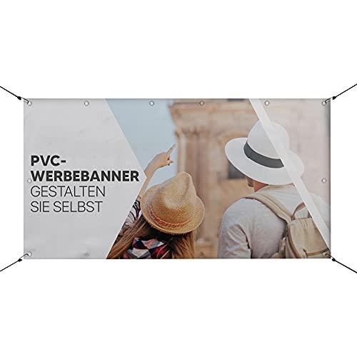 HoWar PVC Werbebanner Hochzeitsbanner Abi Banner selbst erstellen | Werbeplane zum selbst gestalten | Individuell und Personalisiert mit Ihrem eigene Wunschtext/Logo/Bild (150x50cm)