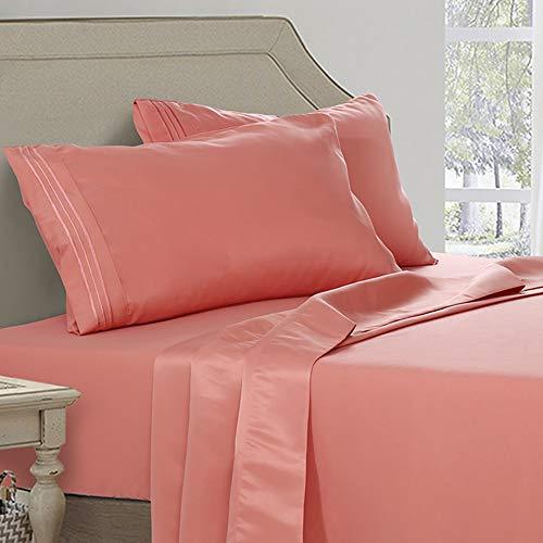 Abakan Cal King Bed Sheet Set 4 Piece 100% Cotton Hotel Luxurious Egyptian Sheet Breathable, Wrinkle, Fade Resistant Deep Pocket Bedding Sheet Set (Cal King, Blue Flower)
