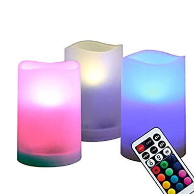 WRalwaysLX Flameless Plastic Pillar Candles Outdoor and Indoor Decorative, Color Changing LED Flickering Candles with Remote Control and Timer, Set of 3, 2.5  D X4 H by 3AAA Batteries(not Included)
