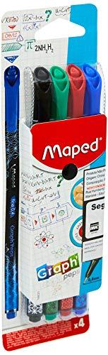 Maped Graph'Peps - Rotuladores de punta fina (0,4 mm, punta resistente, para escritura y dibujo, 4 rotuladores), color negro, rojo, azul y verde
