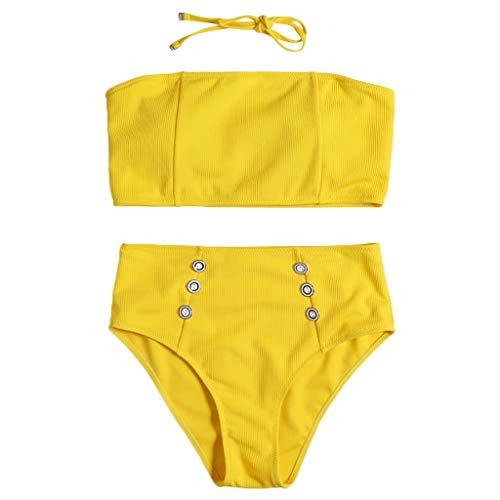 WOZOW Bandeau Bademode Damen Solid Vintage Gepolsterter BH kleine brüste High Waist Button Zweiteiliger Bikini Set Neckholder Tanga Badeanzug (XL,Gelb)