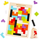 Wooden Tetris Puzzle for Toddlers 3 Years Old,...