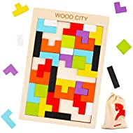 Wooden Tetris Puzzle with a Storage Bag - WOOD CITY Tangram Puzzles for Kid & Adult - Montessori Brain Teasers Toys for Kids ages 4-8 - Colorful Blocks Game - 40 Pcs STEM Educational Gift for Toddlers