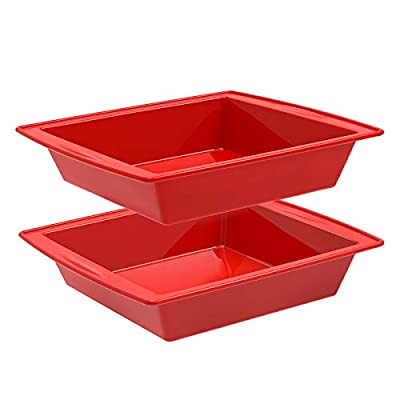 """Silicone Square Cake Pan, 8""""x8"""" Baking Pan, Brownie Pan - Set of 2 - SILIVO Nonstick Silicone Cake Molds , Silicone Baking Mold for Brownies, Cakes, Rice Crispy Treats and Lasagnas - 8x8x2 Inch"""