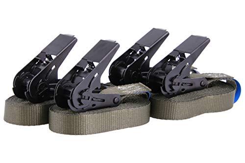 4 Stück Spanngurte Zurrgurte Ratschengurte TÜV zertifiziert und nach DIN EN 12195-2, hochwertige schwarze Ratsche, belastbar bis 900kg, Länge 6m Breite 25mm, einteilig, olivgrün