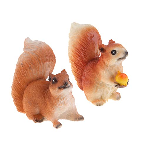 Vankoa, statuetta di scoiattolo, in resina, per interni ed esterni, decorazione per aiuole, giardini delle fate, cortili e altro (set da 2)