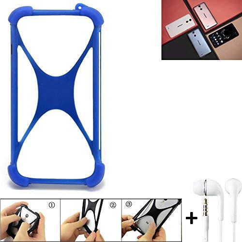 K-S-Trade® Handyhülle Für Ulefone Vienna Bumper Schutzhülle Silikon Schutz Hülle Cover Case Silikoncase Silikonbumper TPU Softcase Smartphone, Blau (1x), Headphones