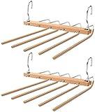 HEROPIE Pants Hangers Space Saving, 5IN1 Multifunctional Pants Rack Anti Slip Wooden Closet Organizer, Stainless Steel Heavy Duty Slacks Hanger (Set of 2)