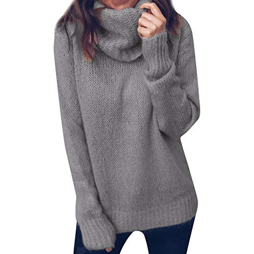 DIOMOR Sweater Women Solid Color Long Sleeve Turtleneck Knitted Simple Jumper Pullover Blouse Oversized Top Gray