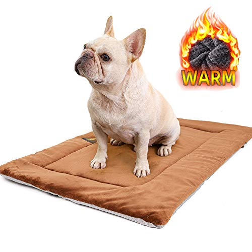Pet Heating Mat Warm Thermal Thick Pad for Small Medium Large Dogs Cats,Winter Dog Thermal Cushion Sleeping Blanket with Anti-Slip Bottom,Soft Plush Dog Mattress for Crate Bed Floor Car,Washable