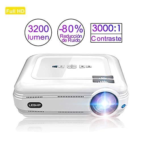 Videoproiettore Full HD, leshp rétroprojecteur LED 3200lumen, sostegno 1080P proiettore di cinema casa HDMI/USB/TV/AV/VGA/Y. PB.PR per computer/pc/portatile/Blu-Ray/DVD Player–Bianca