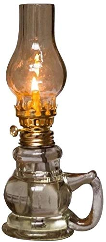 Djrh Aceite de la lámpara sin humo Sin olor a interiores Lámpara de vidrio transparente ajustable Switch Ajustable Lámpara Linterna con lámpara de aceite de tela transparente para uso en interiores