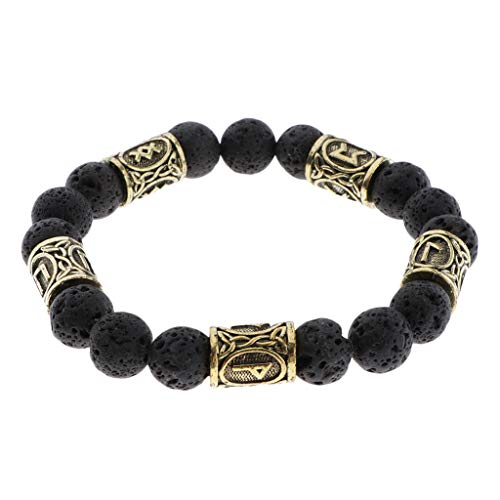 Hellery Pulsera Unisex con Runas Vikingas Talladas Amuleto Pagano Nórdico Wiccan Vintage Jewelry - Bronce