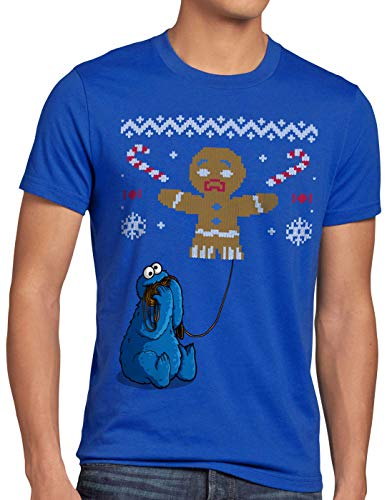 style3 Krümelmonster Ugly Sweater Herren T-Shirt Kekse Cookie Fun Ernie bert Monster x-Mas Pulli, Größe:XXL, Farbe:Blau