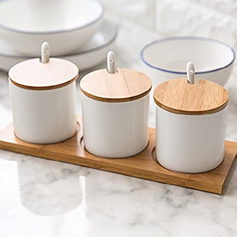 Equal Height DecentGadget Set of 3 White Ceramic Condiment Jar Spice Pots with Lids Spoons Bamboo Serving Tray Holder for Home and Kitchen Storage