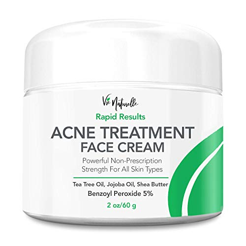 Acne Treatment Cream - 5% Benzoyl Peroxide Spot Treatment Acne Cream - Cystic Acne Spot Treatment for Face - Pimple Cream with Tea Tree Oil for Acne, Witch Hazel, Jojobal Oil, Almond Oil & Shea Butter