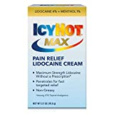 Icy Hot, Max Strength Pain Relief Cream With Lidocaine Plus Menthol, White, 2.7 Ounce