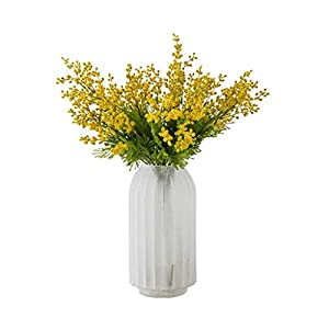 XBR Flower Decor Vase,Artificial Yellow Acacia Flowers Mimosa Plush Silk Flower Fake Flower Vase Set Home Wedding Party Table Decor (Color : Frosted vase+Flower)