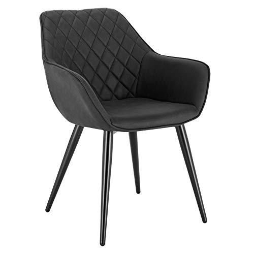 WOLTU Esszimmerstühle BH231an-1 1x Küchenstuhl Wohnzimmerstuhl Polsterstuhl mit Armlehen Design Stuhl Stoffbezug Metall Anthrazit