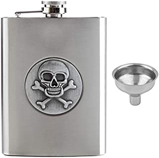 Store2508® Stainless Steel Hip Flask with 3D Skull Devil Design, 8 Oz (236 ml). Free Funnel.