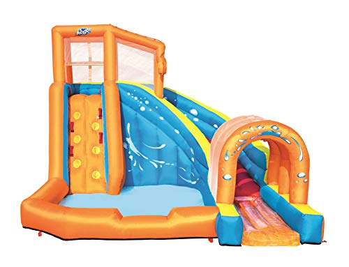 Bestway H2OGO! Hurricane Inflatable Mega Bouncy Castle Water Park for Kids with Water Slide, Climbing Wall and Pool Area, Multi-Colour