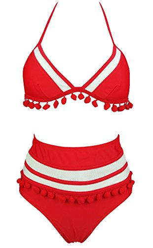 COCOSHIP Red & White Mesh Striped High Waist Bikini Set Tassel Trim Top Halter Straps Swimsuit Bathing Suit 8(FBA)