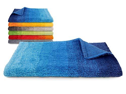Dyckhoff Badteppich Colori - 100prozent Bio-Baumwolle - 1500 g/m² - einzeln gefertigt 544.662, 70 x 120 cm, blau