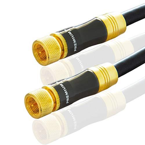 PremiumX 15m Gold-Line SAT Kabel Antennenkabel 135dB Kupfer Koaxialkabel Schwarz Metall F-Stecker Anschlusskabel HDTV 4K