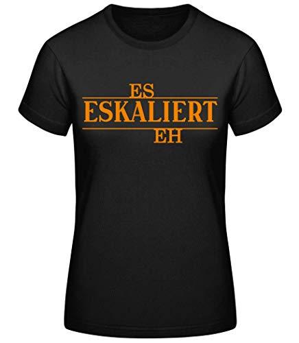 Shirtinator Lustiges Party T-Shirt für Frauen | Es eskaliert eh | Geschenk-Idee für Frauen | Original Damen T-Shirt (Schwarz, M)