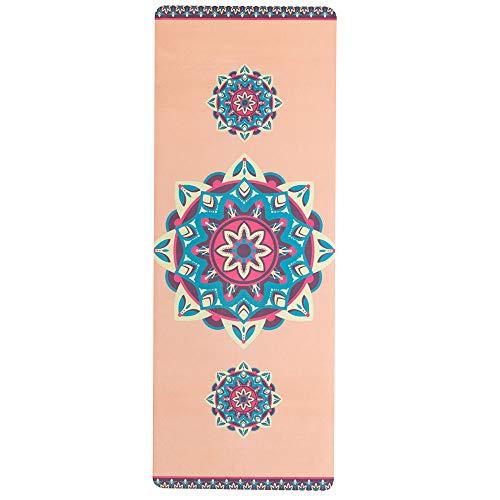 "SNΛKUGΛ Yoga Mat - Premium 3.5MM Print Suede & Eco-Friendly Natural Rubber Non Slip Exercise & Fitness Mat for Yoga, Pilates, Bikram, Ashtanga & Workouts (72"" x 26"" x 3.5mm) - Mandala Orange"