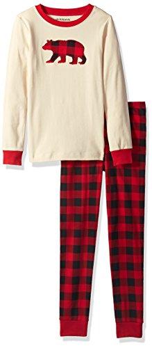 Hatley Little Blue House by Mädchen Long Sleeve Appliqué Pyjama Sets Zweiteiliger Schlafanzug, Weiß (Buffalo Plaid 100), 4 Jahre (Herstellergröße: 4)