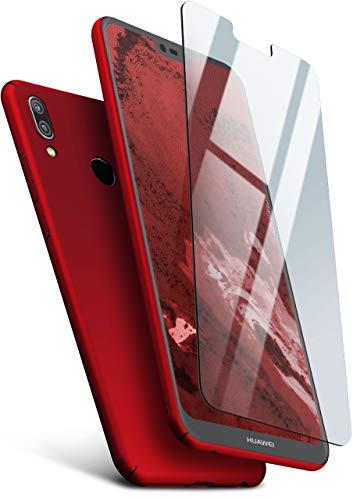 moex Hardcase kompatibel mit Huawei P20 Lite - Hülle Ultra dünn mit Panzerglas Schutzfolie, Slim Hülle Handyhülle beidseitig, matt Rot