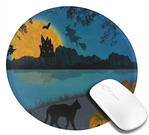 Mouse Pad Round for Kids Space Galaxy Nebula Cat Kitten Pizza Mini Cute Mouse Pad Mat Women Girls Cool Personalized Gaming Non Slip Mousepad for Computer Laptop Office Non Slip
