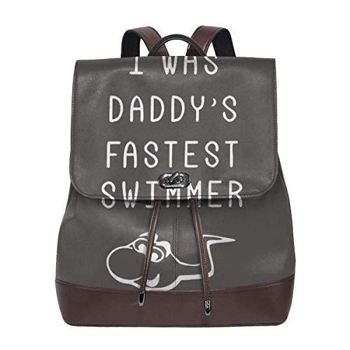 Flyup Women's Leather Backpack I Was Daddy's Fastest Swimmer Fashion Shoulder SchoolBag PU Travel Bag Frauen Leder Rucksack