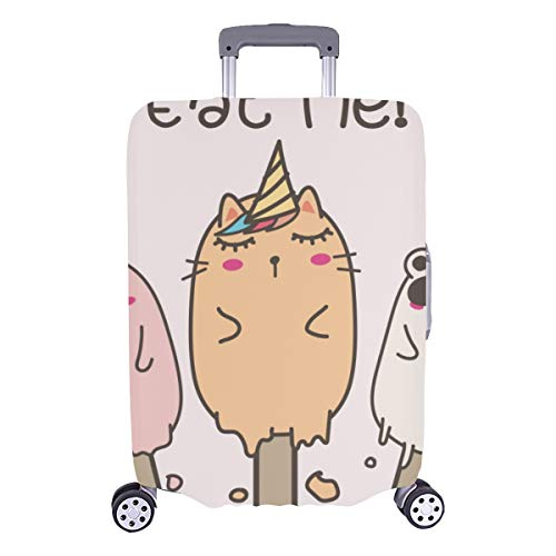 Hard Cover Baggage Cute Ice Cream Cat Cartoon Durable Washable Protecor Cover Fits 28.5 X 20.5 Inch Protective Cover For Luggage Xl Luggage Cover Protector Best Luggage Cover