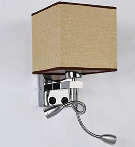 WYDM Lámpara De Pared,Apliques De Pared De Tela Moderna con Luz De Lectura LED, Pantalla De Tela Cuadrada, Interruptor De Botón, Adecuada para Sala De Estar Estudio Dormitorio Hotel