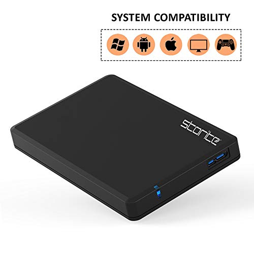 "Disco duro externo 2.5"" USB 3.0 Ultra Fast Slim Drive, disco duro portátil para almacenamiento, copia de seguridad para computadora, Mac, escritorio, portátil, juegos, Chromebook (negro, 120 GB) miniatura"