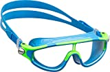 Cressi Kid's Baloo Swim Goggle Mask, Made in Italy, Light Blue/Lime, 2/7 Years